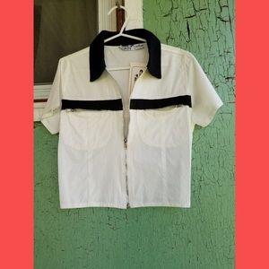 VTG Wh & Bl Rockabilly Zippered Crop Top Jacket